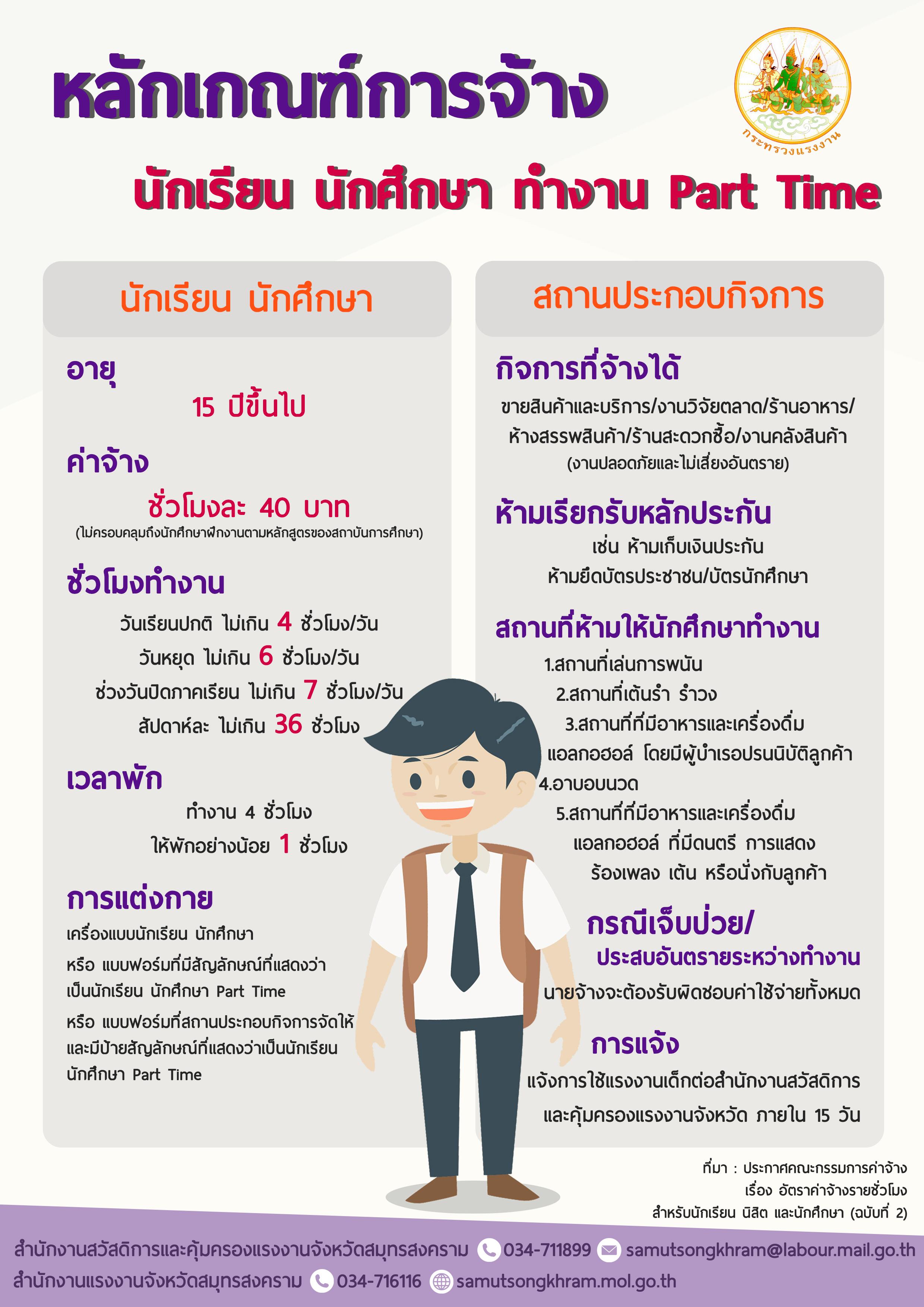 หลักเกณฑ์การจ้างนักเรียนนักศึกษาทำงาน